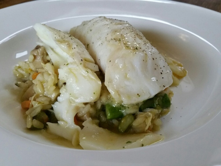 ASPARAGUS RISOTTO WITH COD LOIN
